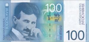 100 новых динаров. СРЮ, Белград, 2000. Аверс. Никола Тесла